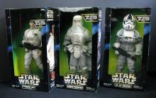 STAR WARS ACTION COLLECTION PRINCESS LEAH (in Hoth gear), SNOWTROOPER, AND AT-AT DRIVER Kenner Toy, 1997. Three 12