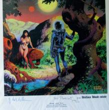 ADAM AND EVE DELUXE ART PRINT - Vanguard Productions, 1998. Limited edition art print of Wally Woods' famous sci-fi illustration. Signed and numbered 244/250. 12