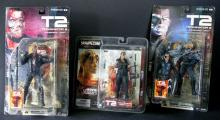 TERMINATOR 2 ACTION FIGURE LOT OF 3 MCFARLANE TOYS - Arnold T-800 Terminator, 2001 good condition sealed. Sarah Connor, 2002, Mint.  T-1000 Terminator, 2001 Excellent, sealed.