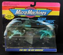 STAR TREK NEXT GENERATION MICROMACHINES STARSHIP SET Galoob, 1993. Includes Kilngon Cruiser, Romulan Warbird, and Borg cube. New & sealed.