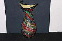 WONDERFUL LARGE MURANO GLASS VASE IN GREAT COLORS & SHAPED TOP - MINT 19.5