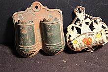 2 NICE OLD BEHIND THE STOVE MATCH HOLDER - DOUBLE TIN WHITE CAST-IRON