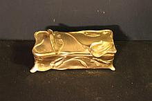 ART NOUVEAU FLORAL MOTIF BENEDICT # 687 JEWELRY BOX IN GOLD - LINED INSIDE - CIRCA 1930