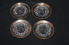4 GORHAM CO. CUT GLASS COASTERS WRAPPED IN STERLING - MINT W/ ORIGINAL COTTON GLOVE