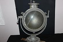 LARGE WESTINGHOUSE CHROMILITE FLOODLIGHT FOR USE ON OCEAN VESSELS OR LANDING LIGHT - SOLID CAST-IRON W/ ADJUSTABLE IRON CRADLE 25