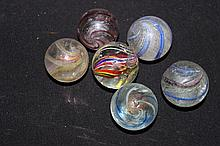 6 GERMAN MARBLES W/ CHIPS
