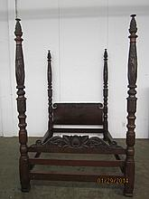 THE BEST BERKEY & GAY MAHOGANY CARVED 4 POSTER BED- FULL-SIZE WITH CLAW FEET