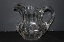 WONDERFUL HEAVY LEADED CRYSTAL GLASS POT BELLY SIGNED LIBBY JUICE PITCHER - MINT & VERY UNUSUAL - 7