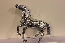 WILD MUSTANG CHROME PLATED HOOD ORNAMENT GOOD CONDITION 9.5 X 11