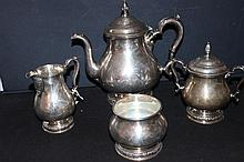 PRELUDE INTERNATIONAL STERLING 4 PIECE TEA SET IN MINT - NEEDS POLISHING - #12403 - APPROX. 51 OZ.