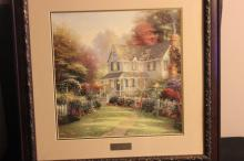 VICTORIAN GARDEN II BY THOMAS KINKADE - LIBRARY ADDITION - BEAUTIFUL CONDITION 17.5 X 18 - OVERALL 28 X 28