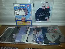 Very nice large lot of star autographs to include Hillary Clinton ace cert., Brett butler, oliver stone, etc 8 total
