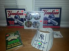 Five pieces of vintage yankee memorabilia 2 1982 yankee photo albums, original 1978 pins, auto clete boyer hat, and the Bronx zoo paperback autographed by gregg nettles and sparky lyle