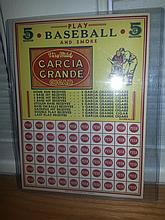 Very rare unpunched 1940 Garcia Grande cigar play baseball punch board mint unpunched