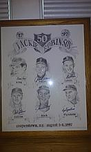 Very nice limited edition litho celebrating 50 years of Jackie Robinson 381/400 with six dodger autos on it and signed by the litho creator as well