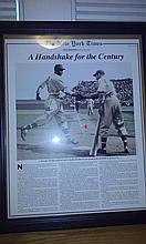 Lot of five framed mlb legends/hof autographs, enos slaughter, Eddie Matthews, Monte Irvin, Johnny podres, George shuba shaking Jackie Robinson's hand RARE!!