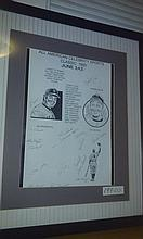 Very nice RARE framed 15 auto lithograph , including Rick cerone, kranepool, George foster, etc