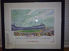 Very nice rare litho titled home of the American league baseball club of New York with 35 baseball greats signatures