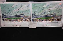 2 GREAT LITHO'S OF AMERICAN LEAGUE CLUB AUTOGRAPHED BY 36 FORMER & ACTIVE PLAYERS 1998 20 X 17