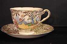 BONE CHINA MADE IN ENGLAND - CUP AND SAUCER MINT - SIGNED COLCLOUGH - CUP 2.75