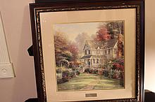 VICTORIAN GARDENS II THOMAS KINKADE LIBRARY EDITION MINT GREAT FRAME 28 X 28