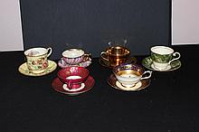 6 BEAUTIFUL CHINA CUPS AND SAUCERS - PARAGON, CANTON, AYNSLEY, AUSTRIA, NORITAKE - MINT