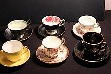 GREAT LOT OF 6 CHINA CUPS AND SAUCERS - ELIZABETHAN, AYNSLEY, ROYAL ALBERT, ADDERLEY, GRAY POTTERY, GREECE