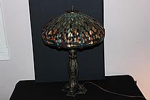 GREAT CONTEMPORARY LEADED GLASS LAMP MINT AND HIGH QUALITY - ORNATE METAL BASE W/ SEVERAL JEWELS - 27