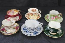 6 CHINA CUPS AND SAUCERS - LEFTON, ROYAL ALBERT, ROYAL HALSEY, AYNSLEY, ROYAL SELEY, BLUE DANUBE - MINT