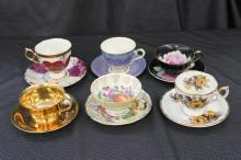 6 BEAUTIFUL BONE CHINA CUPS AND SAUCERS - NORITAKE, LEFTON, ENGLISH AND MORE
