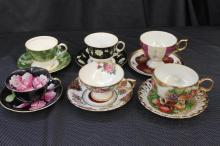 SET OF SIX BONE CHINA - LEFTON HAND-PAINTED, AYNSLEY, STAFFORD, ROYAL SEALY, PLUS