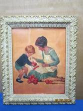 JESSIE WILCOX SMITH 11 X 13 FRAME MOTHER AND SON WITH APPLES