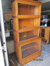 VINTAGE GREAT STEPBACK GLOBE 4 STACK BOOKCASE W/ DRAWED BASE - DOUBLE SIZE BOTTOM STACK AND 3 REGULAR STACKS - EXCELLENT CONDITION
