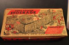 LOUIS MARX & CO. PLASTIC FORT APACHE STOCKADE SET IN ORIG. BOX W/ MINOR DAMAGE