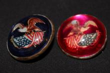 2 VERY LOVELY CIVIL WAR ERA BUTTON PINS - VERY HARD TO FIND - GOOD COND.