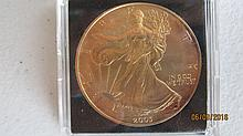 RARE 2003 ONE OZT. .999 SILVER EAGLE - GOLD IN COLOR - UNC. PLUS