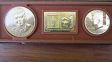 1980 UNC. 3 PC. J.F.K. LIMITED EDITION SET W/ 24 KARAT GOLD PLATE  - EXC .COND