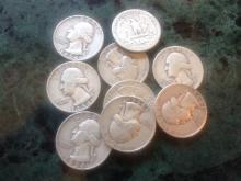 (10) 1954-D SILVER WASHNINGTON'S $2.50 FACE