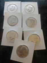 7 - 1964 SILVER KENNEDY'S - ALL A.U. COND - $13.50 FACE