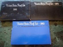 3 PROOF SETS - 1981 - 1983 -1979
