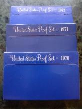 3 U.S. PROOF SETS - 1970 - 1971 - 1972