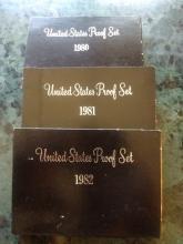 3 PROOF SETS - UNITED STATES - 1980 - 1981 - 1982