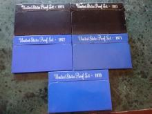 5 PROOF SETS - 1970 - 1971 - 1972 - 1973 - 1974