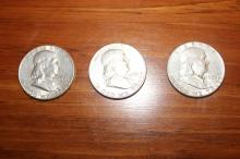 3 FRANKLINS WITH GOOD MINT LUSTER - 1961 - 63 - 58