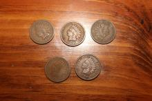 5 INDIAN HEAD PENNIES - 1881 - 1896 - 1897 - 1898 - 1899 - GOOD TO BETTER