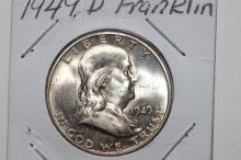 1949D FRANKLIN HALF-DOLLAR B.U. W/ MINT LUSTER LIGHT TONING