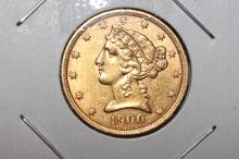 1900 $5.00 GOLD COIN A.U.