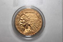 1928 INDIAN HEAD $2.50 GOLD COIN A.U.+