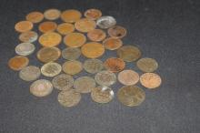 38 MIXED CANADA & BRITISH LARGE 1 CENT MIXED DATES (18 - 1800'S), (20 EARLY 1900'S) - GOOD COND.