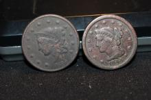 2 LARGE CENTS 1844 & 1835